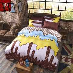 Hot 4Pcs Bedding Set (1 Duvet cover+1 Bed sheet+2 Pillow covers) ice cream ice cream 1.0m wide
