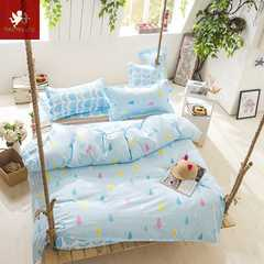 Hot 4Pcs Bedding Set (1 Duvet cover+1 Bed sheet+2 Pillow covers)Fresh apartment Fresh apartment 1.0m wide