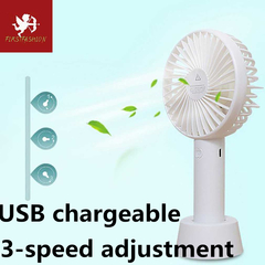 USB chargeable Desk Mini Fan, Quiet Table Fan 3 Speed Modes for Home Room Office Table white With battery
