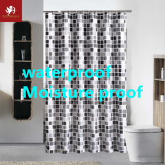 Hot water shower curtain waterproof mosaic flower shower curtain with hook green home decoration Mosaic 80*180cm