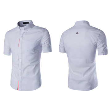 Men's Slim Fit Short Sleeve Shirts 5 Colors White L