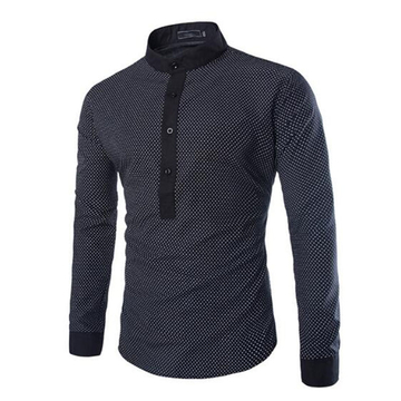 New arrival fashion men's casual dot sleeve shirt Black M