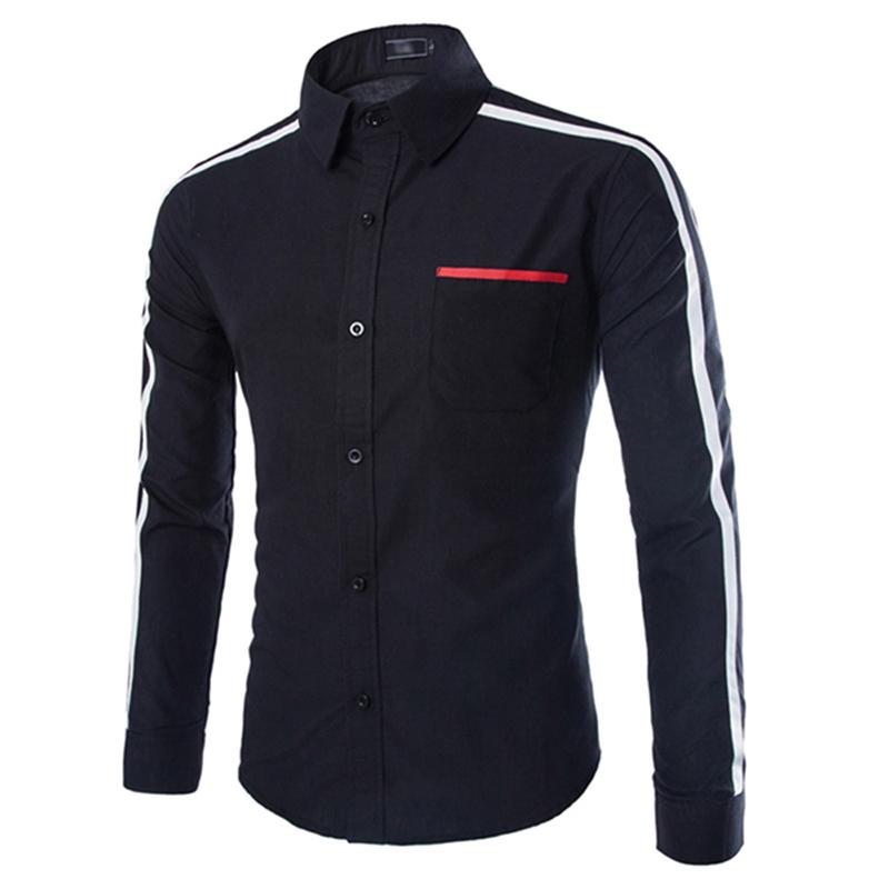 99f63b7ab9f1 New Fashion Men Shoulder Hit Color Casual Shirt Black XL   Kilimall ...