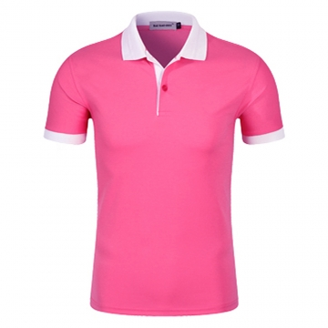 Men New Half Sleeve Lapel Pure Color Uniform Polo Shirt 8# XL