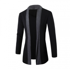 Men Fashion Cardigan Sweater Casual Knitted Coats Dark gray L