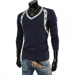 Men Double-breasted Design Long Sleeve T-shirts Dark Blue M