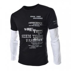 Men Casual Long-sleeved T-shirts Cotton Shirts Black 2XL