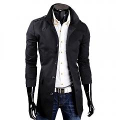 Men Casual Style Middle Length Windbreaker Coat  Epaulet Coat Black L