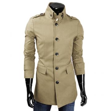 Men Casual Style Middle Length Windbreaker Coat  Epaulet Coat Khaki L