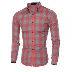 Classic Plaid Men Casual Shirt Red L