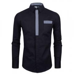 Men Plaid Decoration Simple Design Shirt Black M