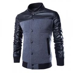 Fashion New Men Stand-up Collar Coat Jacket Gray XL