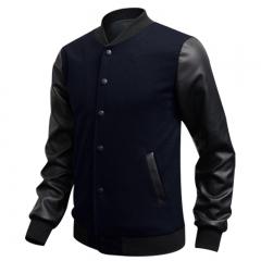 PU Leather Collar Sweater Baseball Stitching Clothes Jacket Dark Blue M
