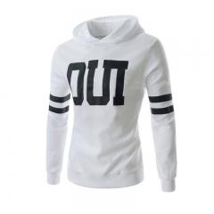 Men Fashion Letter Prited Slim Jacket Pullover Hoodies White XL