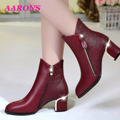 Limited purchase boom promotion classic fashion wild heel shoes in the tube casual Martin boots red 35