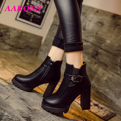 Crazy promotion comfortable classic fashion wild casual ladies high heels ankle boots Martin boots 318black 36