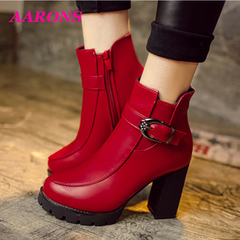 Crazy promotion comfortable classic fashion wild casual ladies high heels ankle boots Martin boots 318red 38
