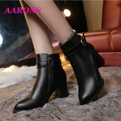 Best selling explosion women's shoes side zipper ankle boots fashion wild belt buckle Martin boots Black plus velvet 36