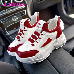 2019 Hot snapped fashion wild thick-soled women's shoes online celebrity casual sports running shoes red white 40