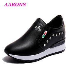 Classic super fire new embroidered rhinestone casual shoes sports shoes to increase height shoes black 39