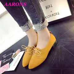 AARONS 2019 new wild fashion street tide shoes with pointed four seasons shoes flat shoes peas shoes yellow 40