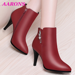 Snap up new Fashion casual  ankle boots women's high heel Martin boots  pendant rhinestone booties red 39