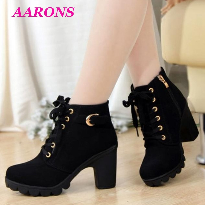 807583bec62 Best selling explosion fashion ladies high heel thick heel leather lace-up  ankle boots martin boots black 35