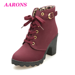 Best selling explosion fashion ladies high heel thick heel leather lace-up ankle boots martin boots red wine 41