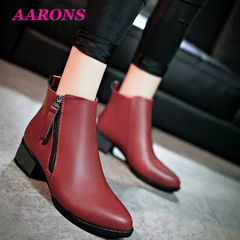 2019 Hot promotion classic new fashion women's boots thick with short boots high heel Martin boots red wine 40