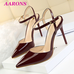 Hot promotion simple fashion stiletto super high heel shallow mouth pointed sexy female sandals Wine red 40