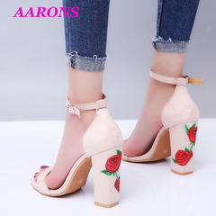 2019 Explosions fashion leisure suede embroidered buckle chunky sandal super high heel women's shoes nude 43