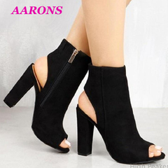 Explosion models new classic fashion luxurious hollow suede high chunky heels women's Ankle Boots black 39