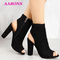 Explosion models new classic fashion luxurious hollow suede high chunky heels women's Ankle Boots black 38