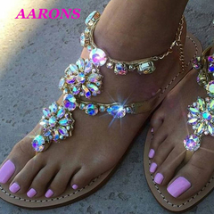 ARRONS 6 color size 34-47 new casual female sandals flat bottom rhinestone stone chain women's shoes golden 35