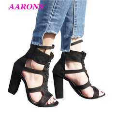 Explosion models new sexy summer women's sandals hollow suede cross ankle straps zipper thick heels black 35