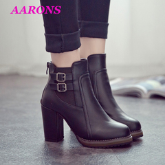 2019Best selling explosion retro elegant buckle ankle boots high heel thick with ladies Martin boots black 35
