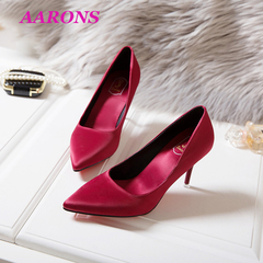 2019Luxury new fashion ladies sexy hollow banquet silk fabric pointed toe beef tendon stiletto heels wine red 39