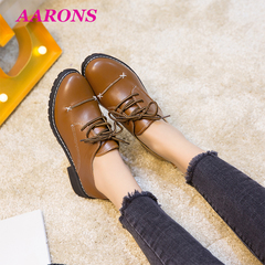 Explosion models hot PU leather lace-up ankle boots fashion casual retro shallow mouth women's shoes brown 39