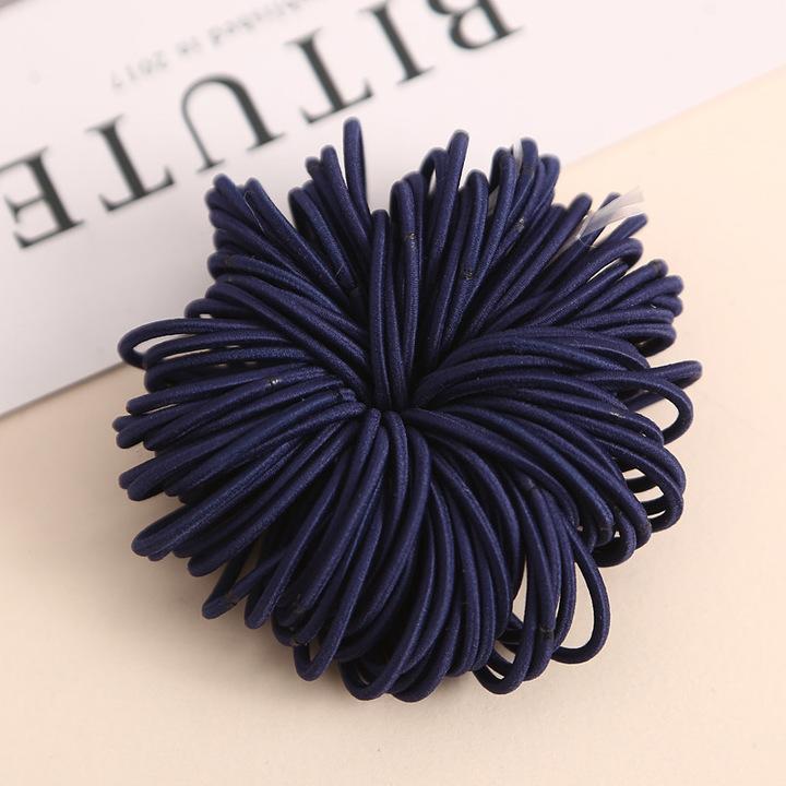 100 pieces/more than 3CM cute girl's ponytail hair clip hair decoration thin elastic band hair ring Navy blue 100