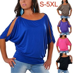 S-5XL Plus Size Fashion Casual Women's Cold Shoulder Short Sleeve Cotton T Shirt Blouse Fashion Tops blue xxxxl