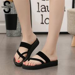 2019 New Women Summer Non-slip Platform Shoes Wedges High Heel Woman Outdoor Beach Slippers Sandals black 35