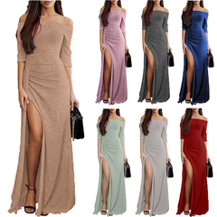 Ladies' Dresses with Slits in the Buttocks, Revealing Shoulders, Sparkly Dresses, Dinner Dresses pink XL