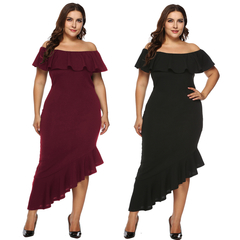 Large Size Women's Wear One Word Collar Flounce Edge Irregular Evening Dress Short Sleeve Skirt black xl