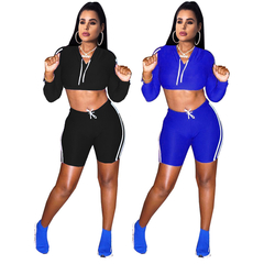 New European and American Women's Club Wear Sports Shorts Suit Two Sets blue l