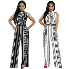 European and American Fashion Women's Loose Slim Casual Jumpsuit Printed Straight Leg Pants black l