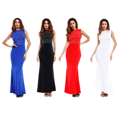 Women's Dersses Plus-size Summer Sleeveless Maxi Dress Slimming Dress with Full Hips xxxl blue