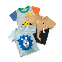 Children's Short-sleeved T Shirt, Boys' Half-sleeved Baby Undershirt, Children's Vest khaki 140cm cotton