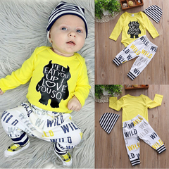 Boy Ha Yi Baby Three-piece Ins Baby Suit Trouser Cap Jumpsuits long sleeves 100cm