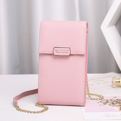 2019 New Single-shoulder Slant-span Mobile Phone Bag Simple PU Multi-functional Women Wallet meat pink 19cm*10cm*4cm
