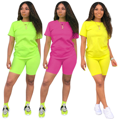 Women T-shirt and Shorts Sports Casual Pantsuit Two-piece Nightclub yellow s
